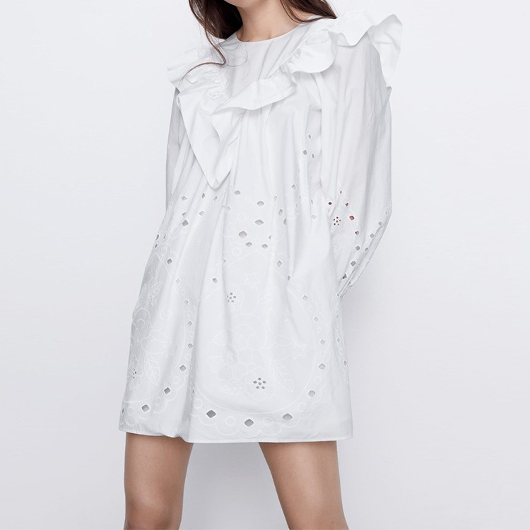 Hollow Out Embroidery Ruffle Long Sleeve Mini Dress Spring Summer New Trend
