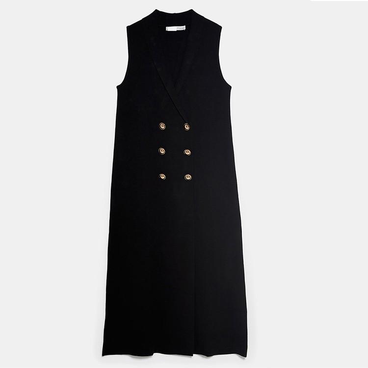 Double Breasted V neck Sleeveless Elegant Dress Women Casual Long Dress