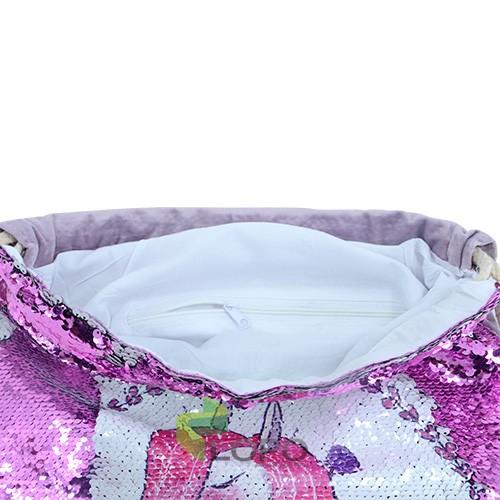 Sequin Drawstring Bag-Purple
