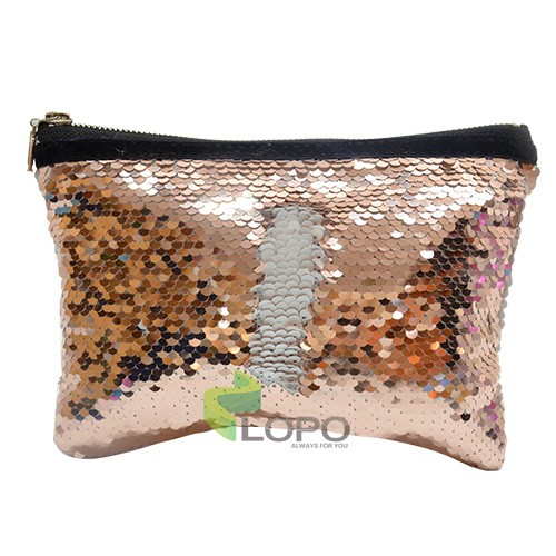 Sequin Hand bag-Rose Gold