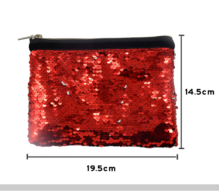 Size for sequin hand bag