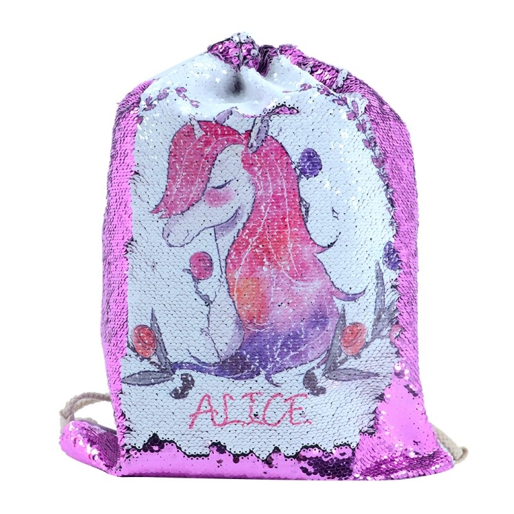Sequin Drawstring Bag-Purple