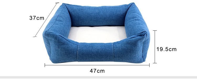 Size for Linen Bumper Pet Bed-Blue-S