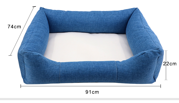 Size for Linen Bumper Pet Bed-Blue-L