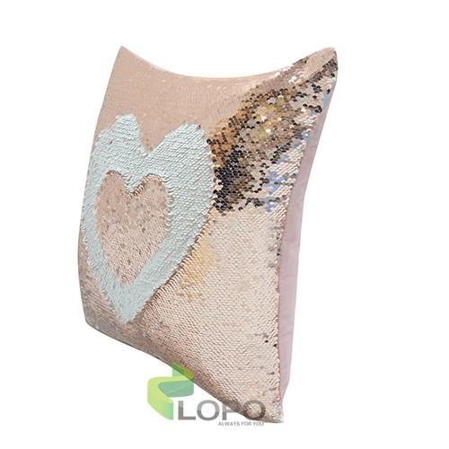 Sequin Pillow Case-Square Shape-Rose Gold