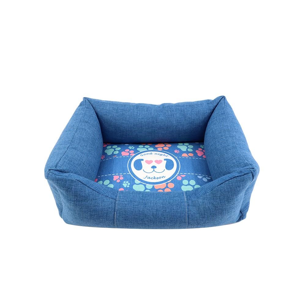 Linen Bumper Pet Bed-Blue-S(1)