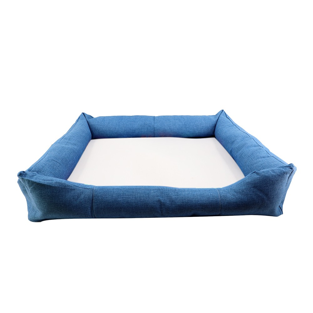 Linen Bumper Pet Bed-Blue-L