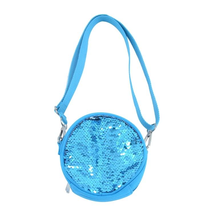 Sequin Kids Round Coin Bag-Blue