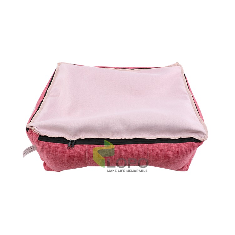 Linen Bumper Pet Bed--Pink-S