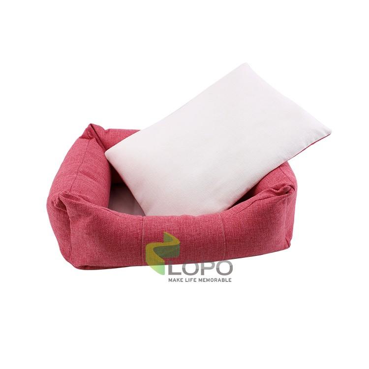 Linen Bumper Pet Bed--Pink-S