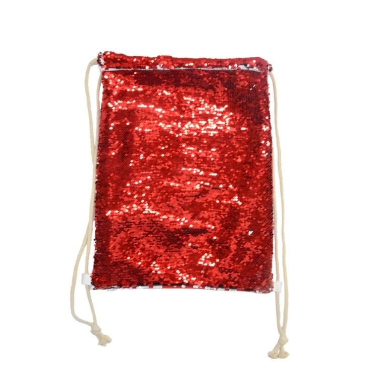 Sequin Drawstring Bag-Red