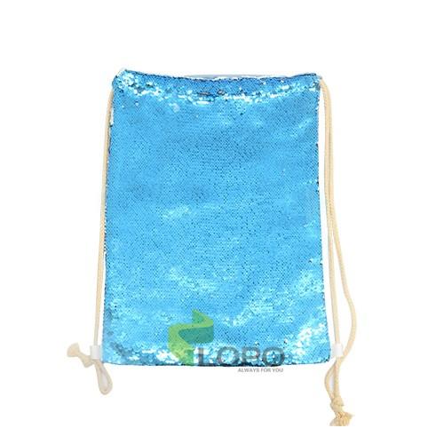Sequin Drawstring Bag-Blue