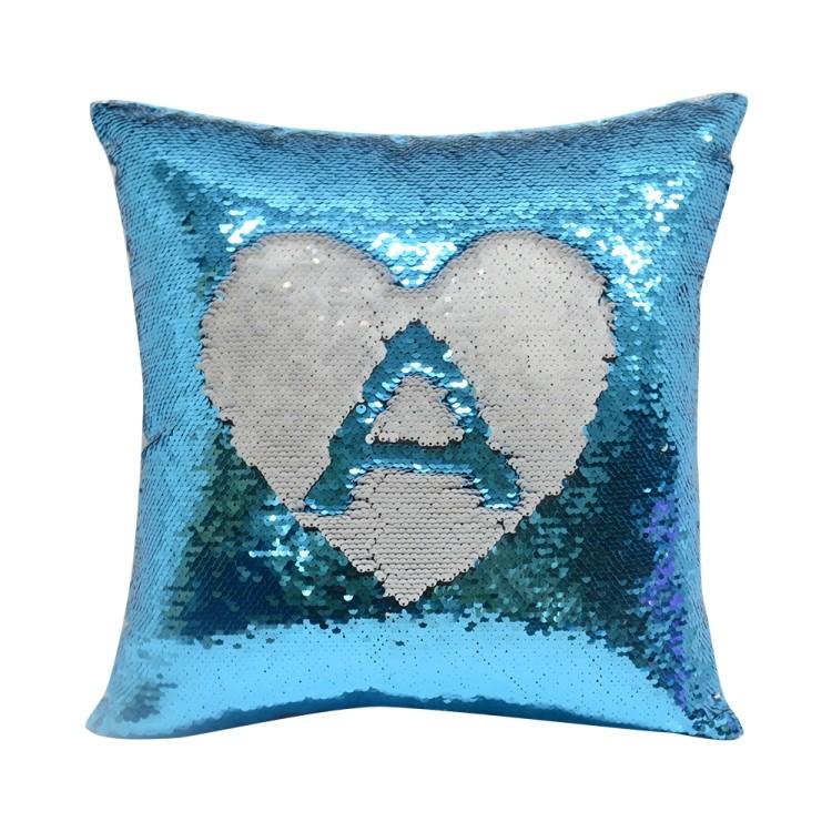 Sequin Pillow Case-Square Shape-Blue(1)