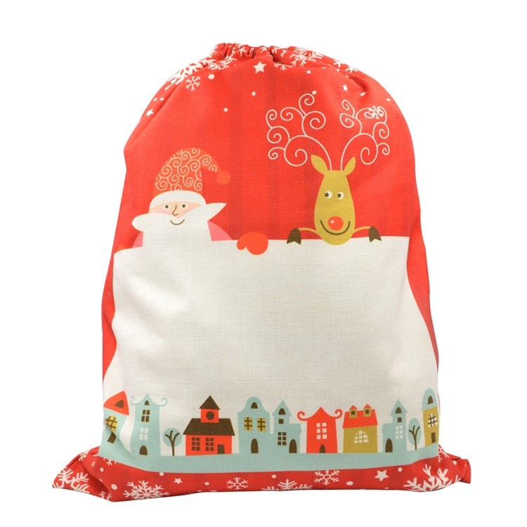 Linen Santa Sack Red for Xmas 50*66CM