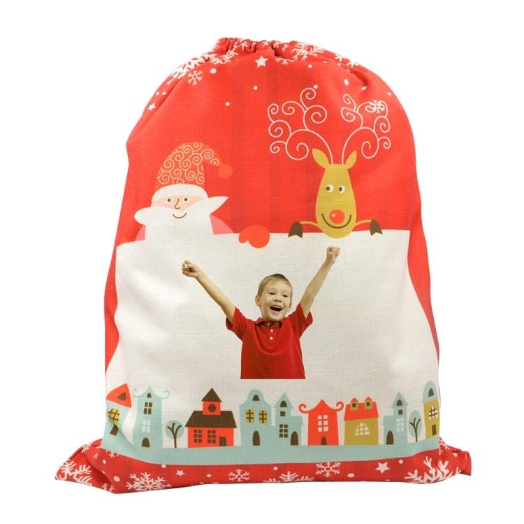 Linen Santa Sack Red for Xmas 30*40CM