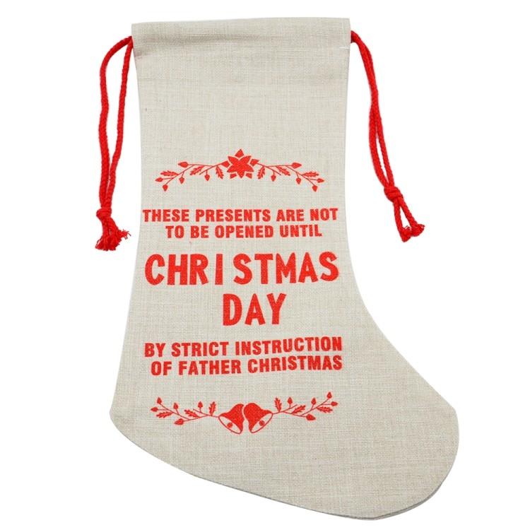 Linen Xmas Stocking