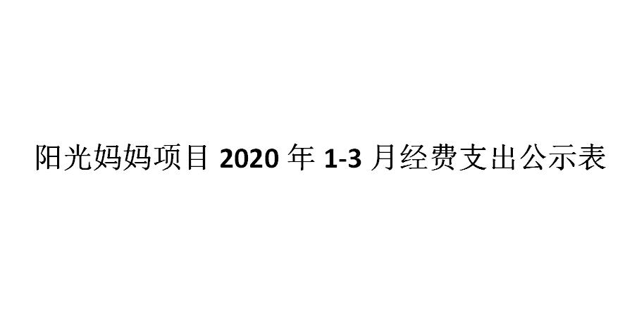 阳光妈妈项目2020年1-3月经费支出公示表