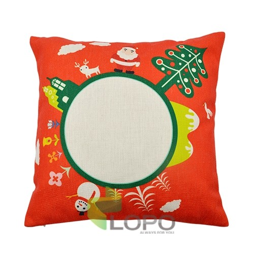 Linen Pillow Case Red with Xmas Pattern Round Printable Part