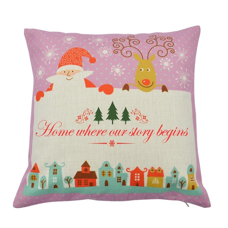 Linen Pillow Case Pink with Xmas Pattern Rectangle Printable Part