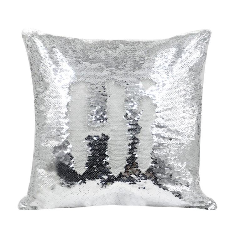 Sequin Pillow Case-Square Shape-Sliver(1)