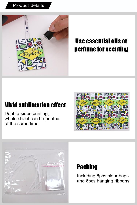 sublimation felt air freshener details
