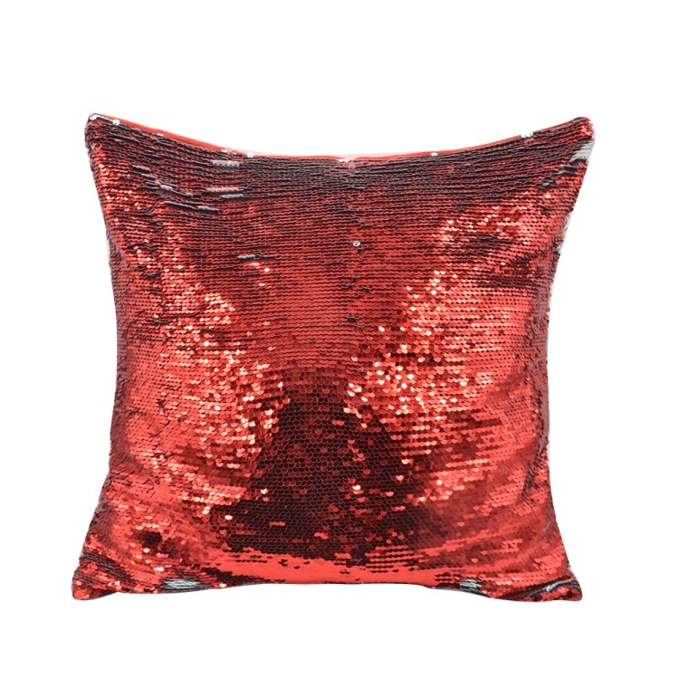 Sequin Pillow Case-Square Shape-Red(1)
