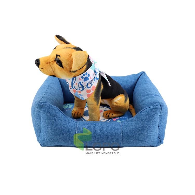 Linen Bumper Pet Bed-Blue-S
