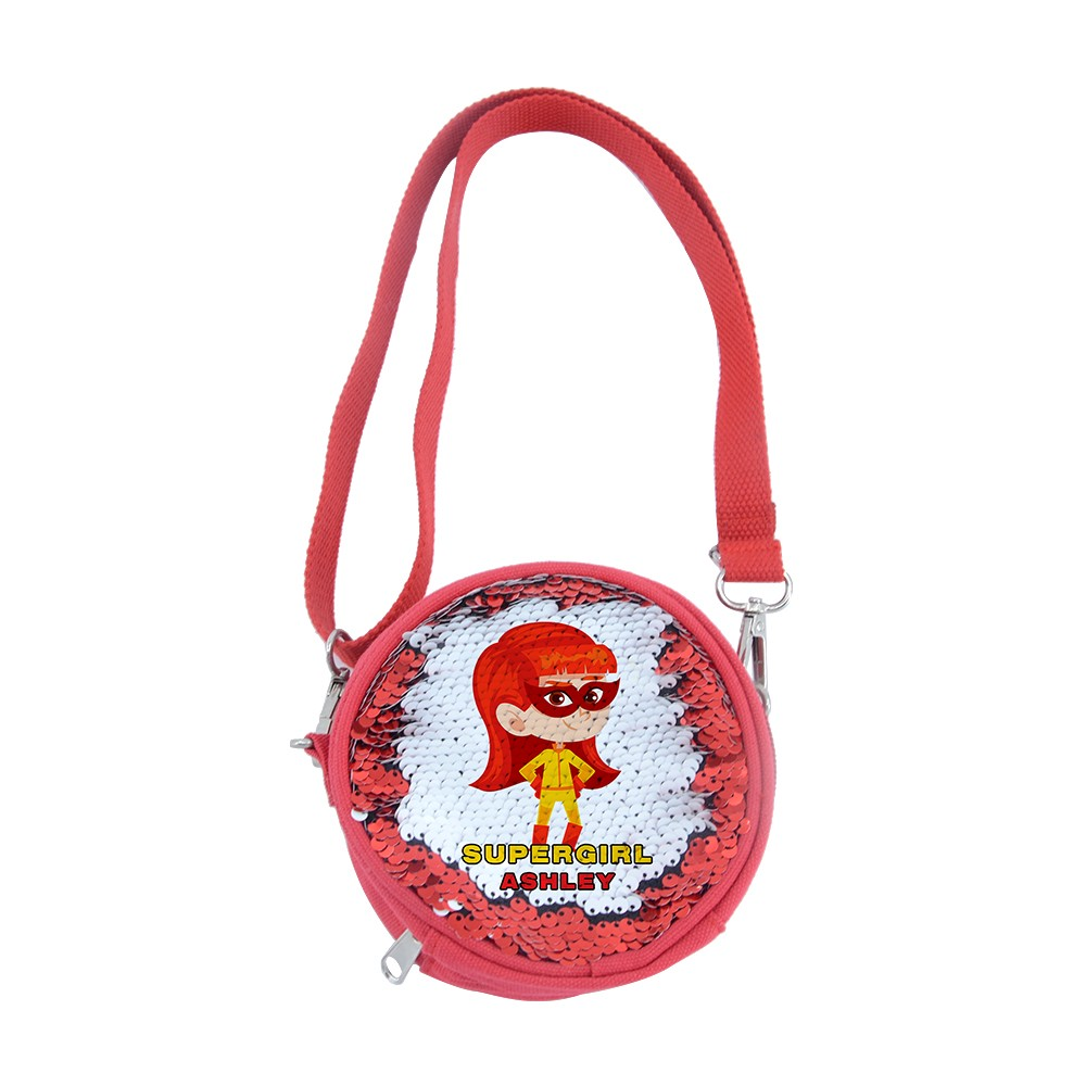 Sequin Kids Round Coin Bag-Red