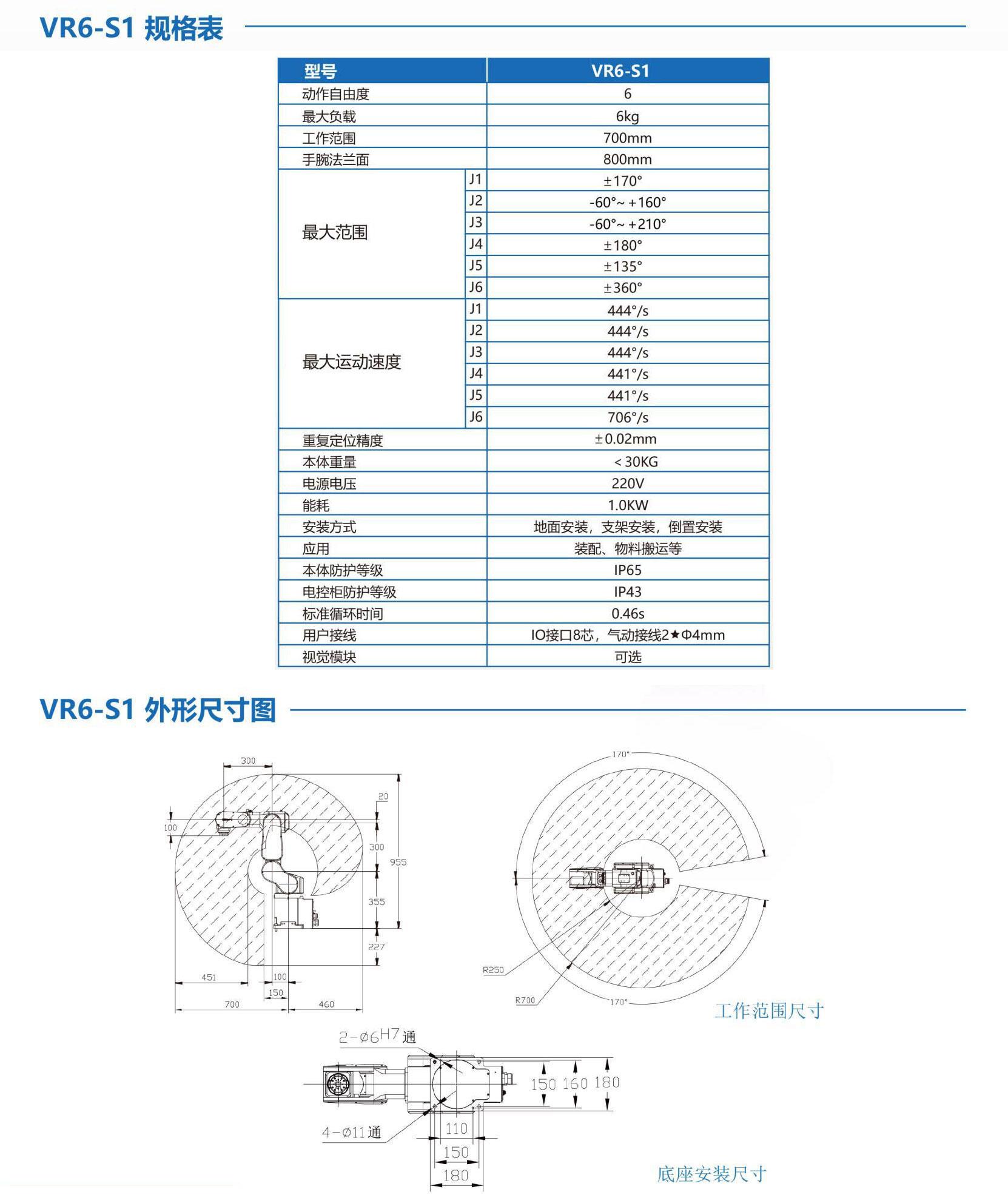 6Kg 六关节机器人 桌面型(2019款)