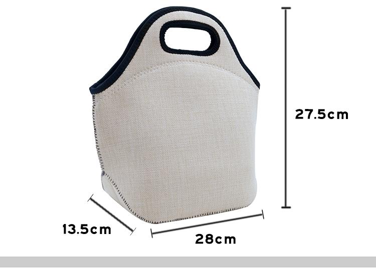 Size for Linen Neoprene Lunch Bag