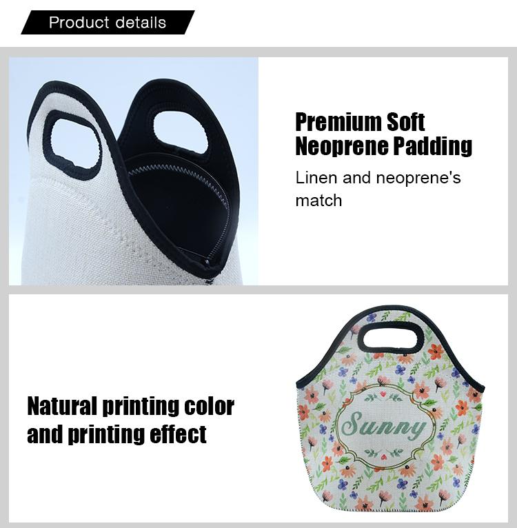 detail of Linen Neoprene Lunch Bag
