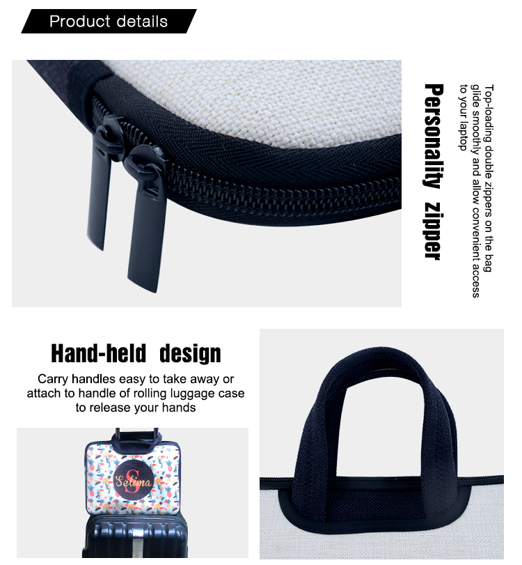 details of Linen Laptop Case with Handle 14
