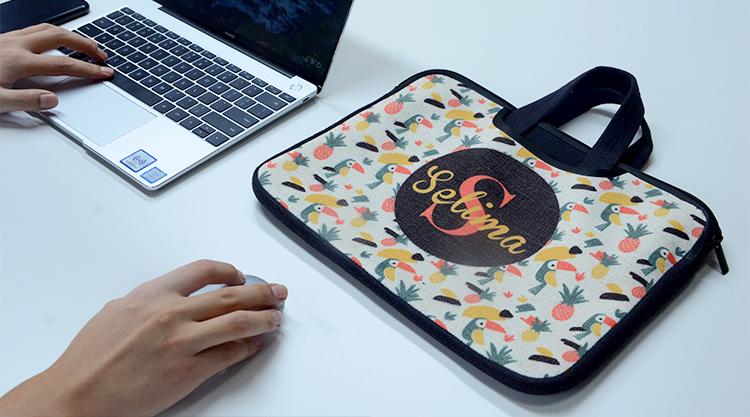 Linen Laptop Case with Handle 14