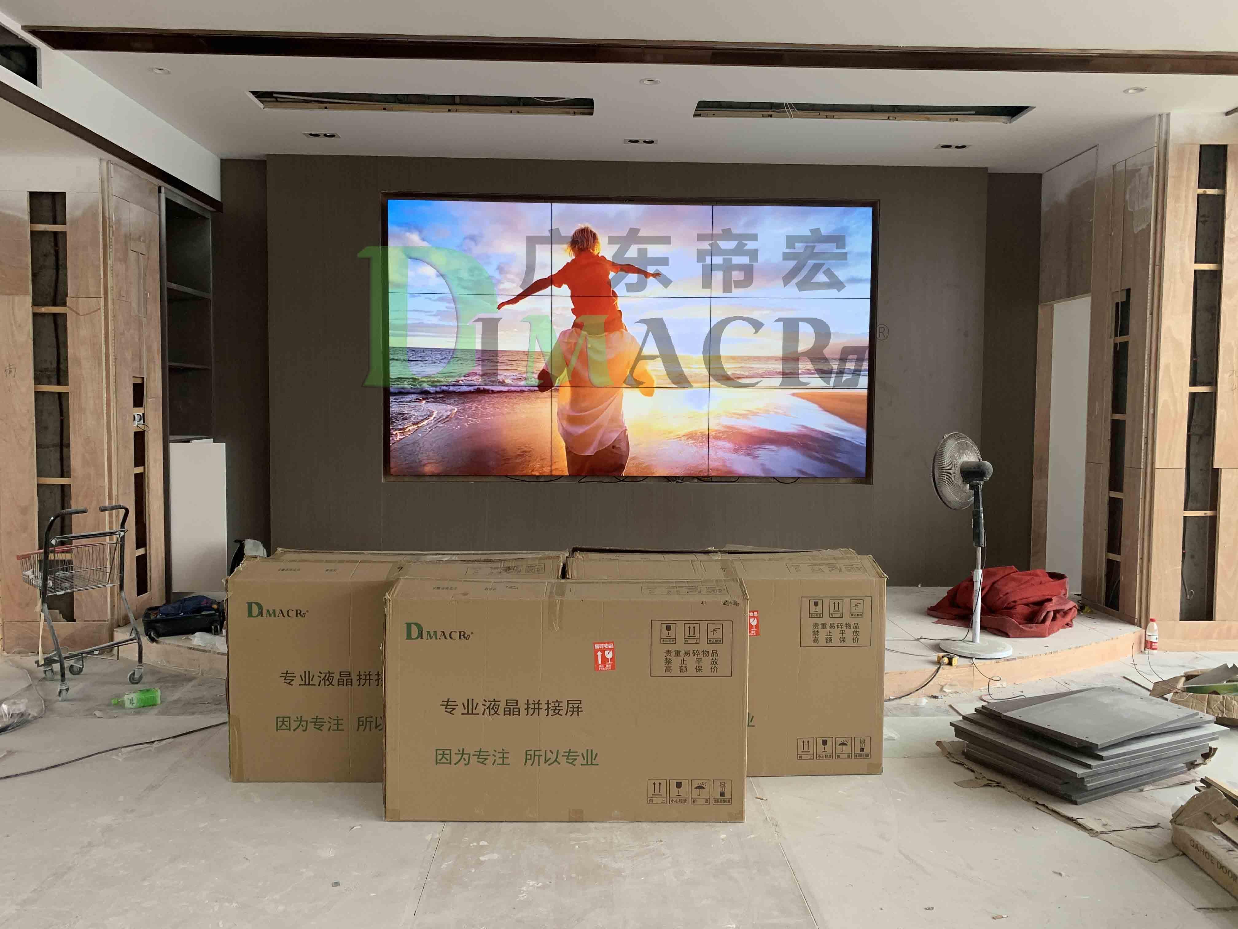 安徽淮北某养生堂项目三星55寸双边拼缝1.7mm3x3拼接安装完工