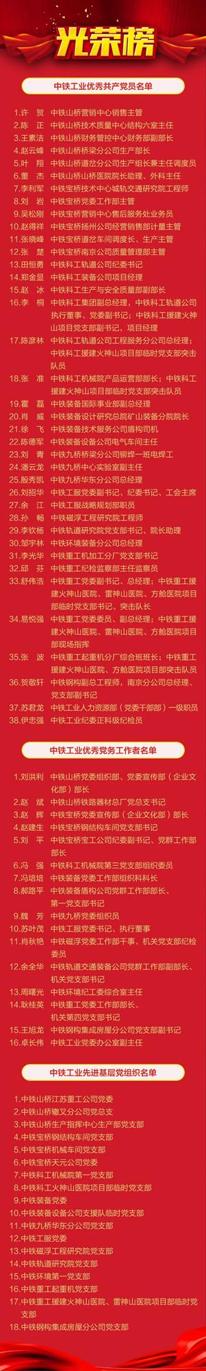 """中铁工业党委召开纪念中国共产党成立99周年暨""""两优一先""""表彰大会"""