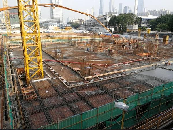 正中集团TCL大厦项目B塔地下室顶板封顶