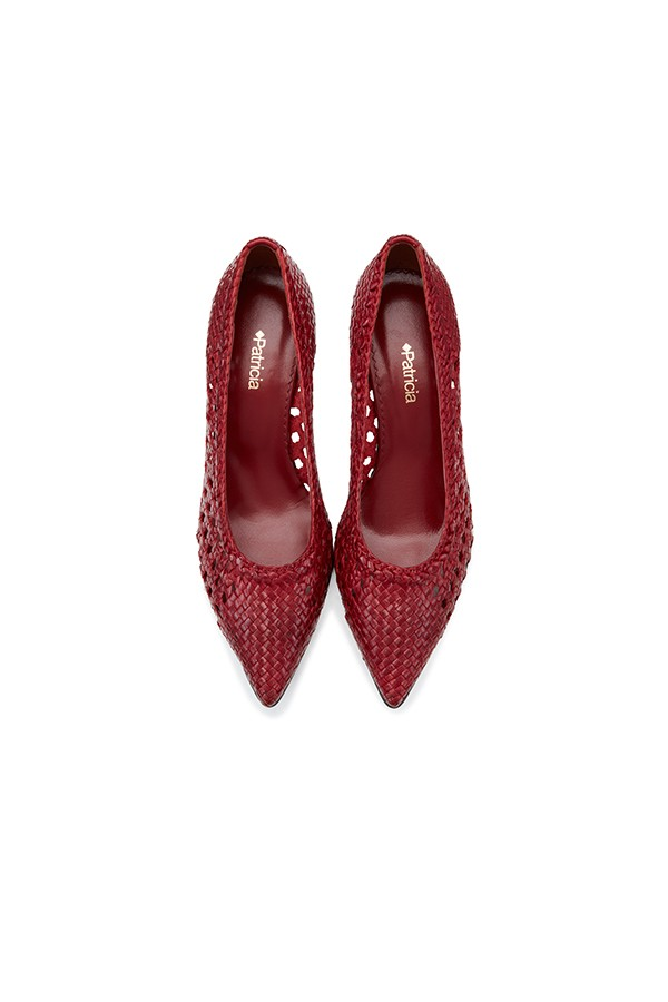 尖头细高跟玲珑镂空羊皮编织单鞋
