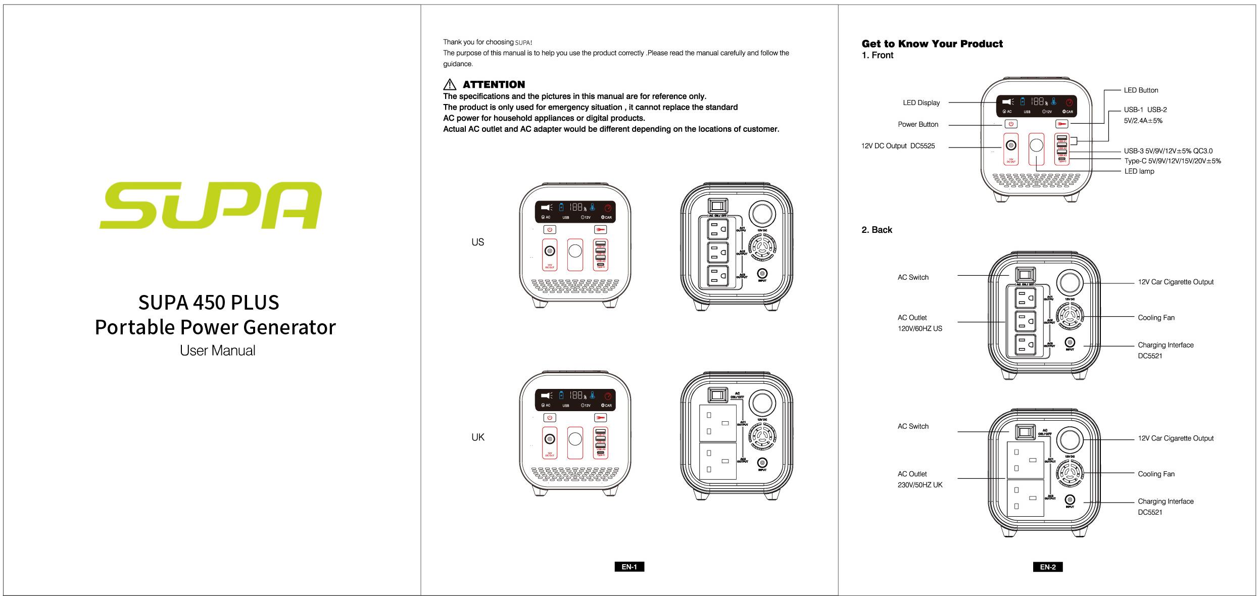 SUPA 450 PLUS User Manual