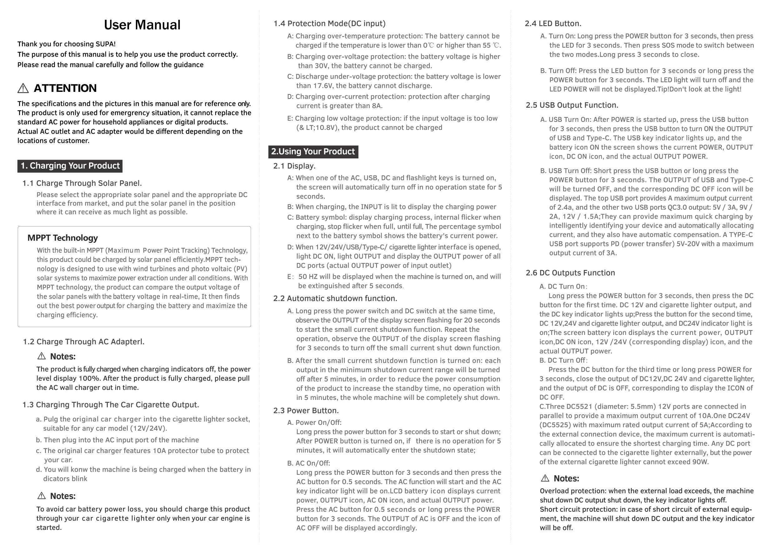 SUPA 1000   User Manual