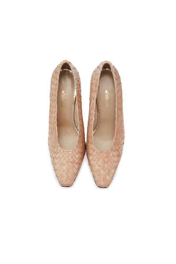 羊皮编织小方头高跟浅口单鞋