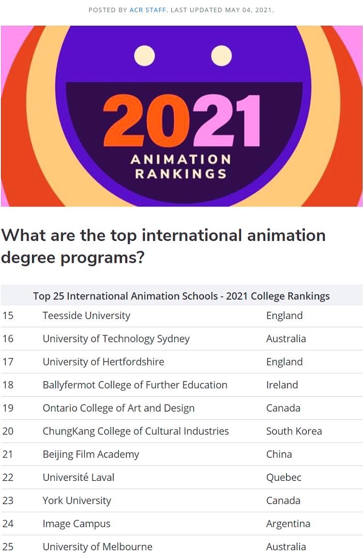 再次全球TOP15,提赛德打造全球顶尖动漫大学