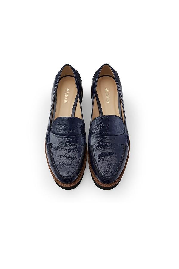 蓝色牛漆皮超轻运动厚底深口单鞋