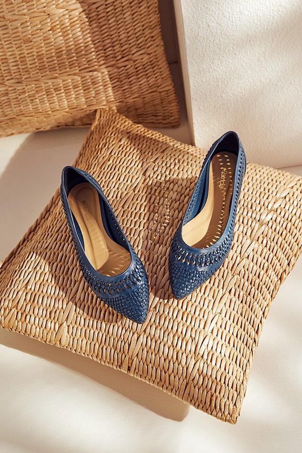 尖头平跟鱼骨编织羊皮浅口单鞋