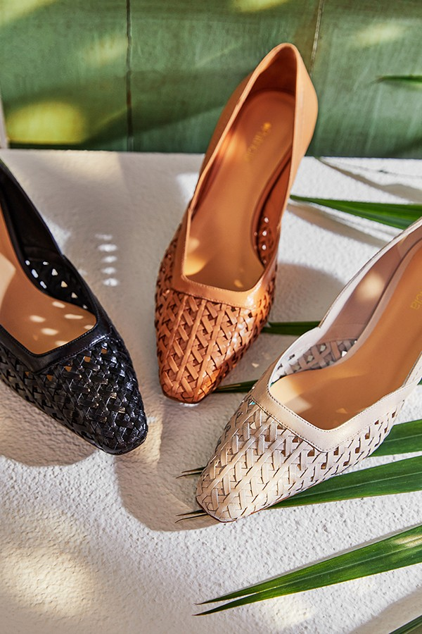 羊皮鸟巢编织方头低跟浅口单鞋