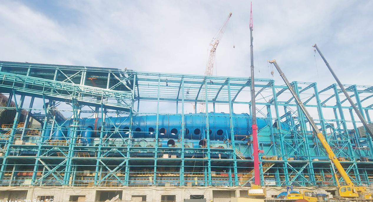 2020年 防城港球团焙烧室大烟道全部吊装完成