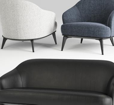现代布艺皮革沙发组合3d组合