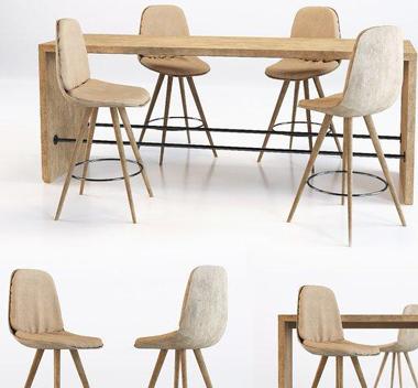 北欧全实木餐桌椅组合3d模型
