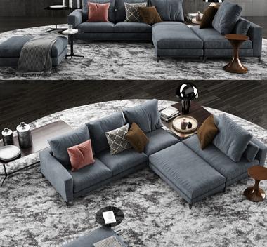 现代布艺转角多人沙发边几组合3d模型