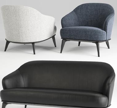 现代布艺皮革沙发组合3d模型