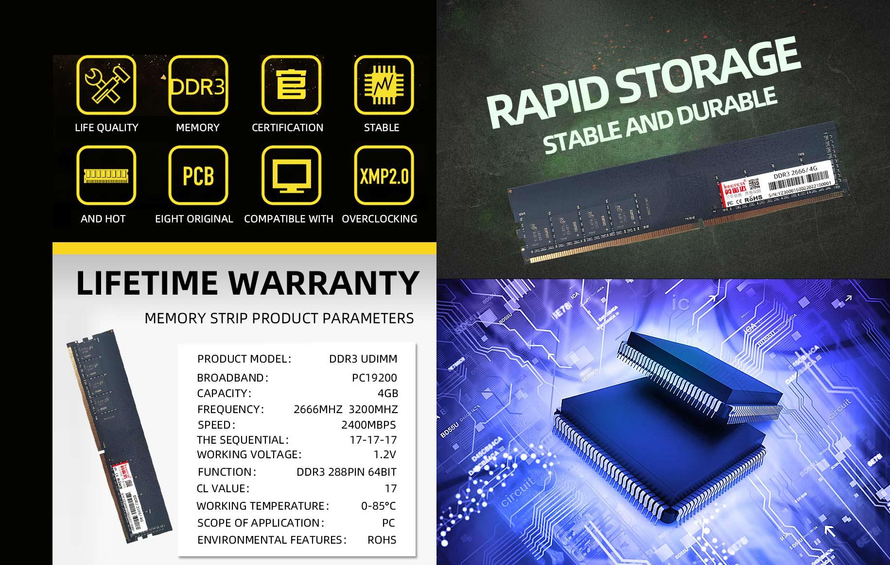 DDR3 2666/3200 4GB desktop MEMORY strip